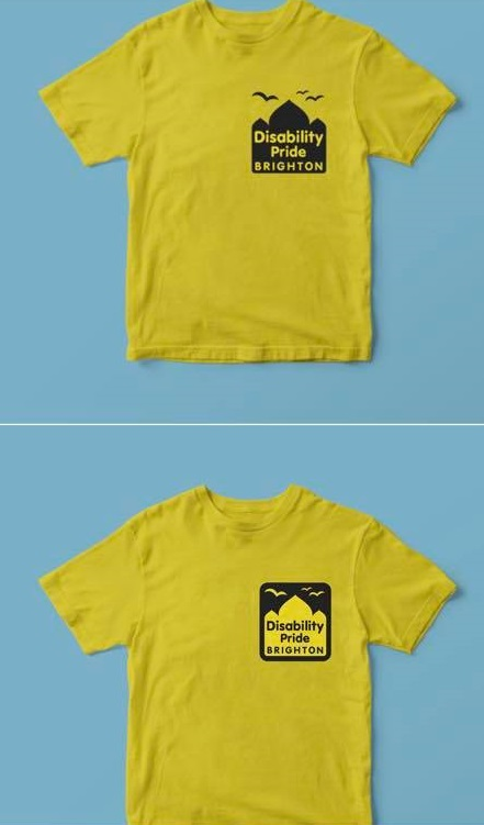 Disability Pride Brighton t-shirts for 2018 black text and logo on yellow t-shirt