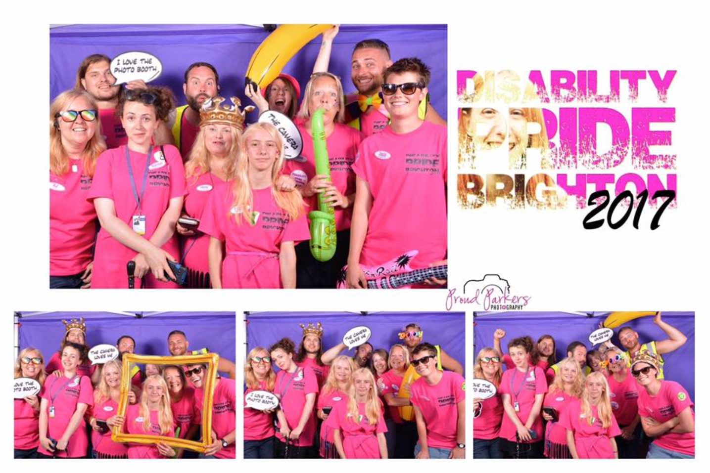 Photobooth images from 2017, with all of the Disability Pride Committee members, members of the team who supported the event organisation, and with Jenny Skelton and her daughter Charlie
