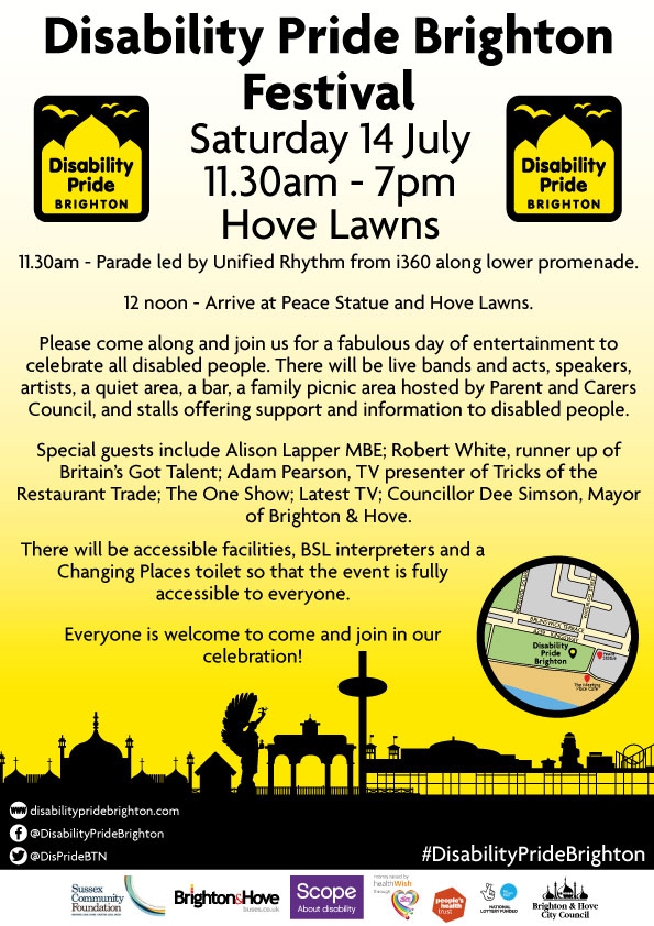 Disability pride in Brighton & Hove, taking place 14 July, 2018 on Hove Lawns, starting at noon