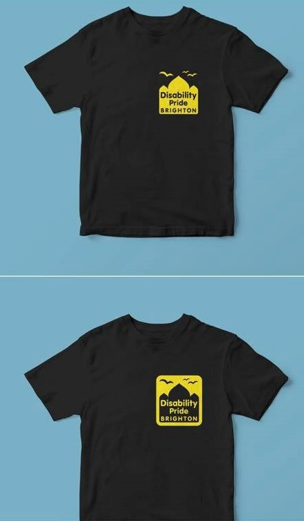 Disability Pride Brighton t-shirts for 2018 yellow text and logo on black t-shirt