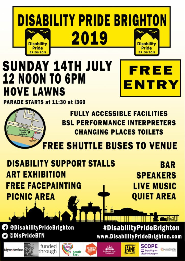 Official 2019 Disability Pride Brighton Poster