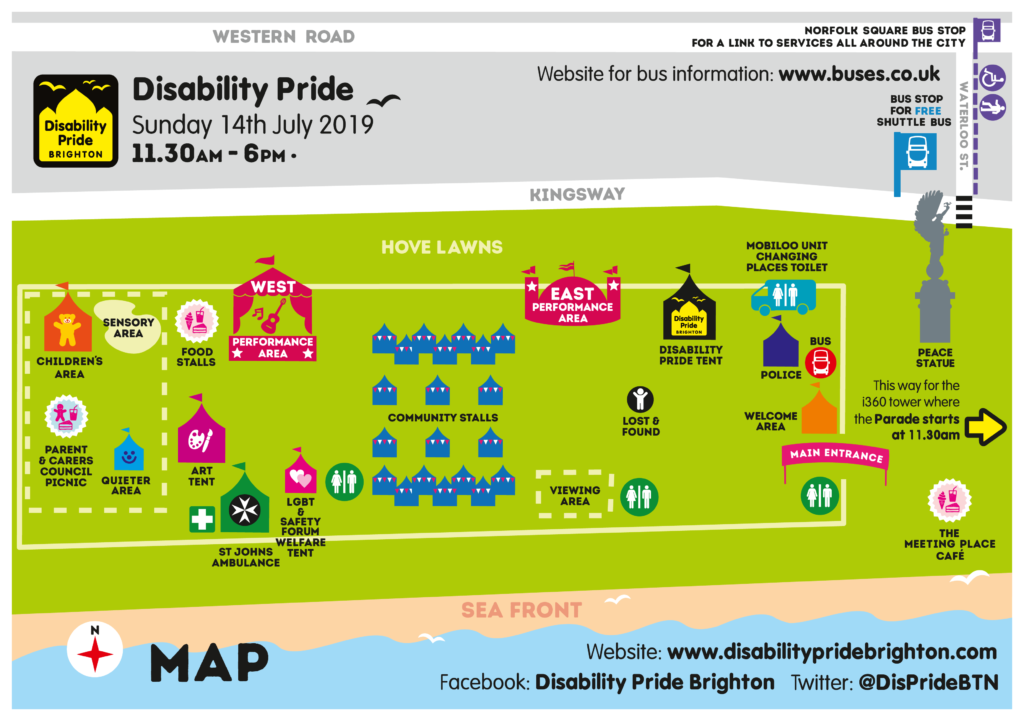 2019 Disability Pride Brighton festival map
