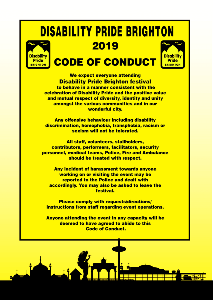Disability Pride Code of Conduct 2019